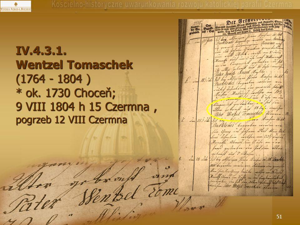 2014-05-1651 IV.4.3.1. Wentzel Tomaschek (1764 - 1804 ) * ok. 1730 Choceň; 9 VIII 1804 h 15 Czermna, pogrzeb 12 VIII Czermna