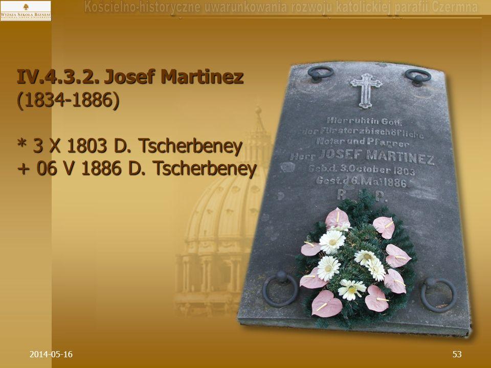 2014-05-1653 IV.4.3.2. Josef Martinez (1834-1886) * 3 X 1803 D. Tscherbeney + 06 V 1886 D. Tscherbeney