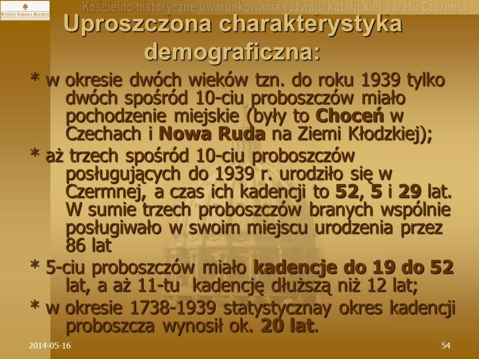 2014-05-1654 Uproszczona charakterystyka demograficzna: * w okresie dwóch wieków tzn. do roku 1939 tylko dwóch spośród 10-ciu proboszczów miało pochod