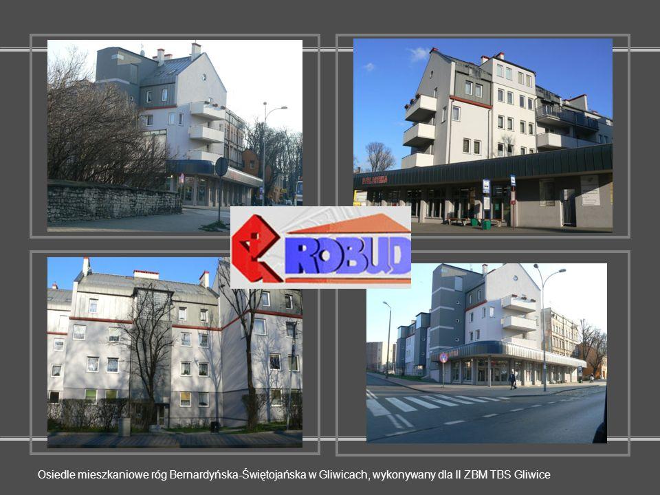 Osiedle mieszkaniowe róg Bernardyńska-Świętojańska w Gliwicach, wykonywany dla II ZBM TBS Gliwice