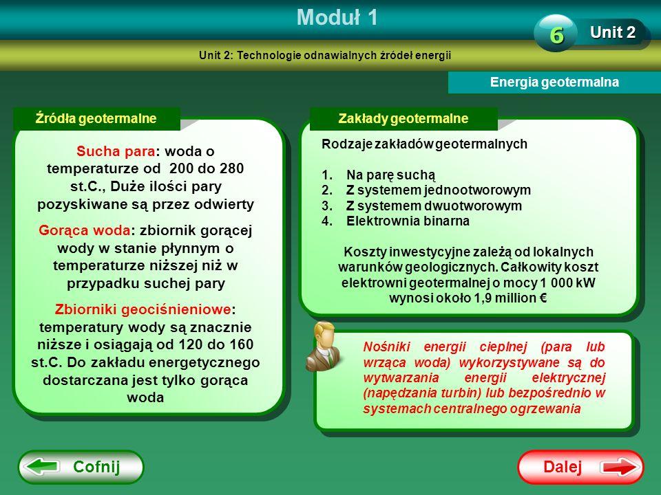 Dalej Cofnij Moduł 1 Unit 2 6 Energia geotermalna Nośniki energii cieplnej (para lub wrząca woda) wykorzystywane są do wytwarzania energii elektryczne