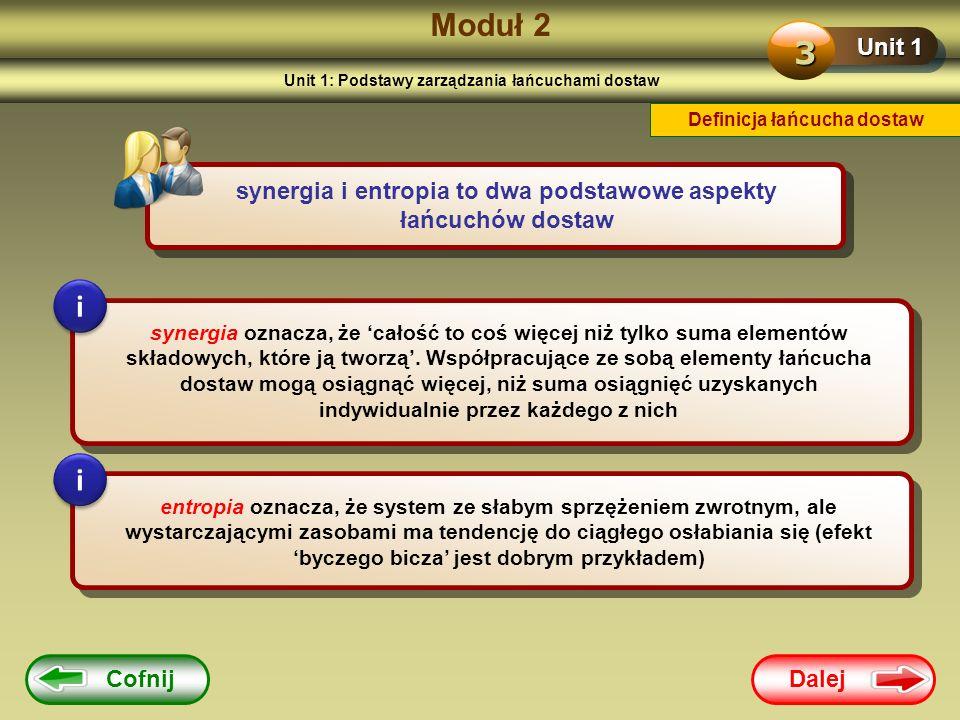 Dalej Cofnij Moduł 2 Unit 1 3 synergia i entropia to dwa podstawowe aspekty łańcuchów dostaw synergia oznacza, że całość to coś więcej niż tylko suma