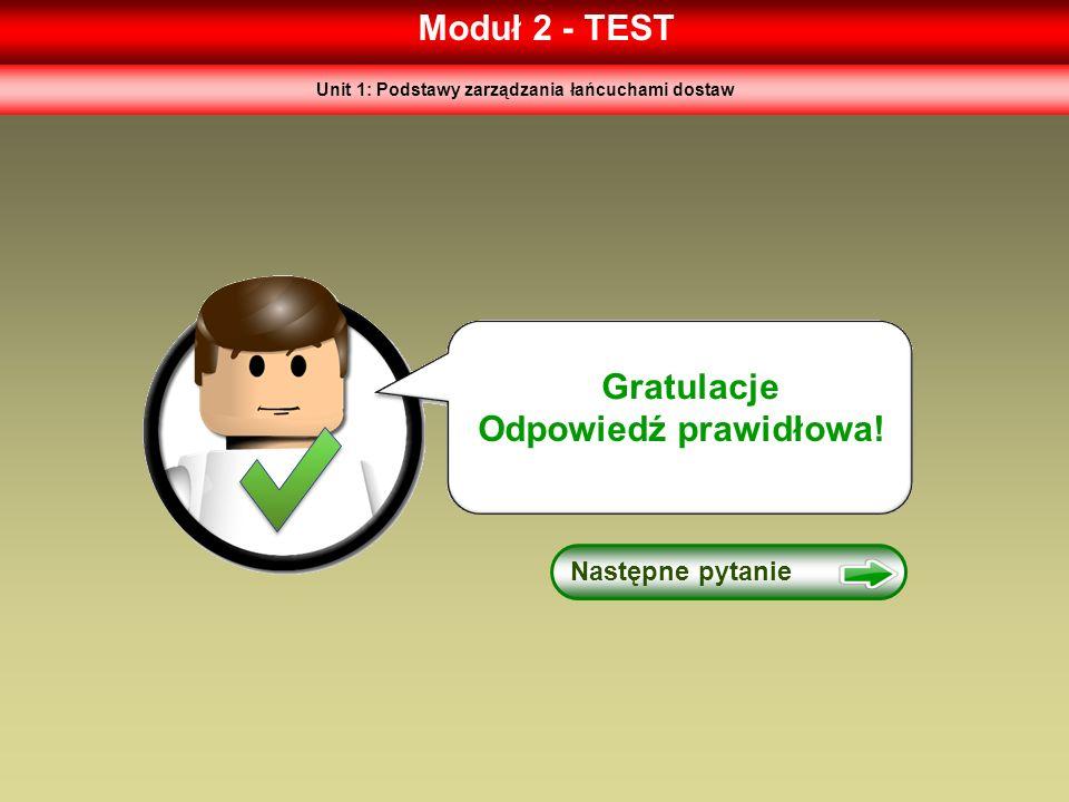 Moduł 2 - TEST Gratulacje Odpowiedź prawidłowa! Następne pytanie Unit 1: Podstawy zarządzania łańcuchami dostaw
