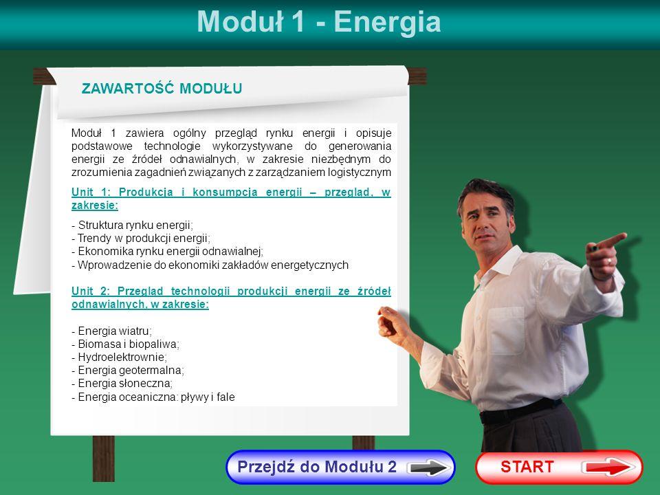 Dalej Cofnij Moduł 1 Unit 1 2 Diagram konwersji energii Energia pierwotna słoneczna, wiatrowa, hydroenergia, biomasa, odpady Straty energii Straty w procesie konwersji Straty w sieciach dystrybucji Konsumpcja własna Energia wtórna Biopaliwa (stałe, płynne), biogaz, elektryczność, energia cieplna Energia finalna Biopaliwa (stałe, płynne), biogaz, elektryczność, energia cieplna Straty konsumenckie Ciepło, elektryczność, oświetlenie, etc.