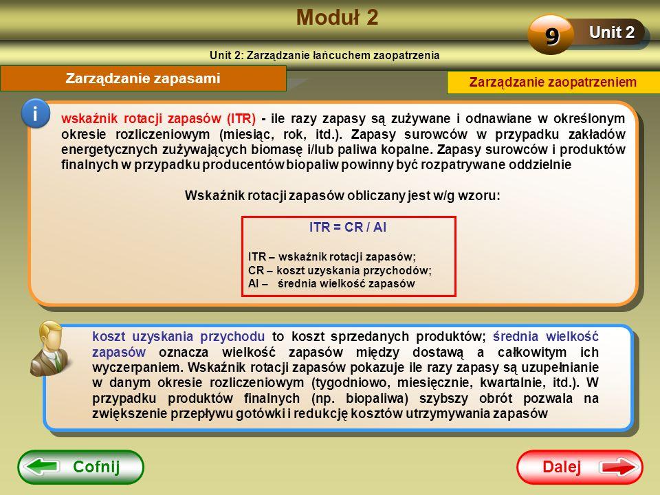 Dalej Cofnij Moduł 2 Unit 2 9 Zarządzanie zapasami i wskaźnik rotacji zapasów (ITR) - ile razy zapasy są zużywane i odnawiane w określonym okresie roz