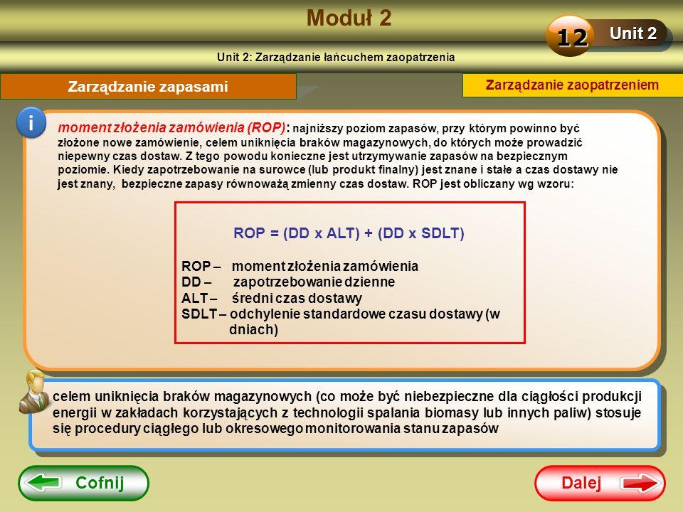 Dalej Cofnij Moduł 2 Unit 2 12 Zarządzanie zapasami i moment złożenia zamówienia (ROP): najniższy poziom zapasów, przy którym powinno być złożone nowe