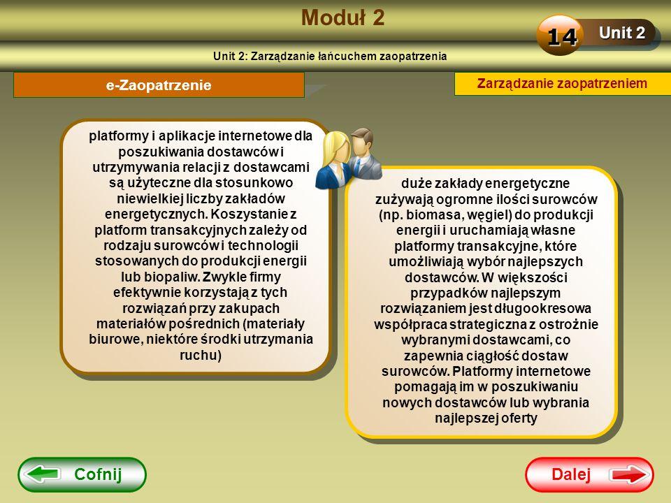 Dalej Cofnij Moduł 2 Unit 2 14 e-Zaopatrzenie platformy i aplikacje internetowe dla poszukiwania dostawców i utrzymywania relacji z dostawcami są użyt
