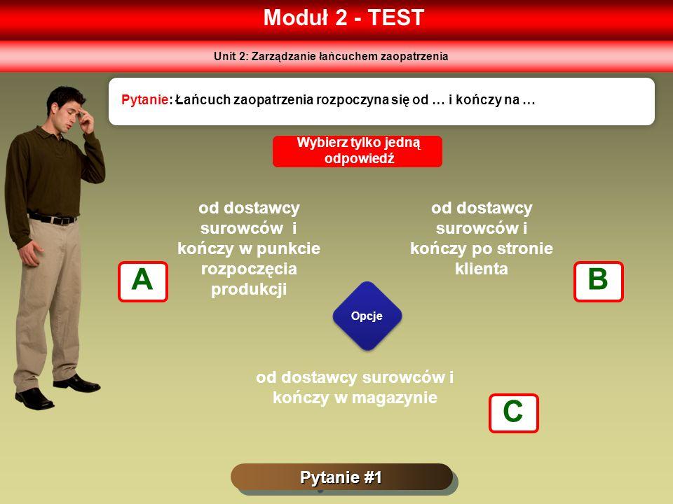 Moduł 2 - TEST Pytanie #1 Pytanie: Łańcuch zaopatrzenia rozpoczyna się od … i kończy na … Opcje Wybierz tylko jedną odpowiedź od dostawcy surowców i k