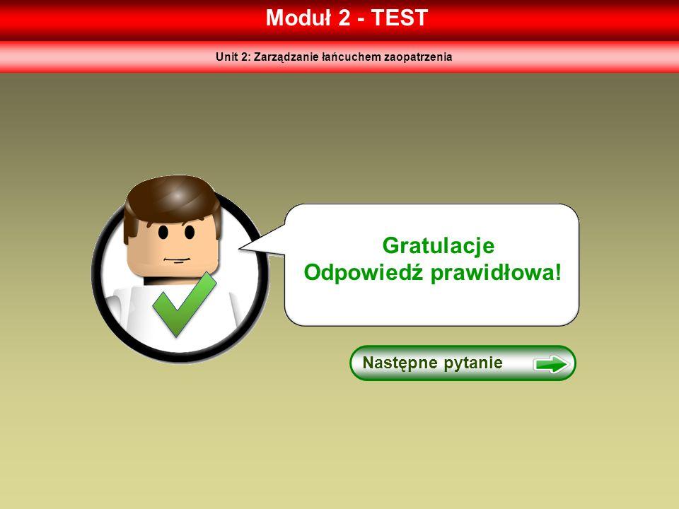 Moduł 2 - TEST Następne pytanie Gratulacje Odpowiedź prawidłowa! Unit 2: Zarządzanie łańcuchem zaopatrzenia