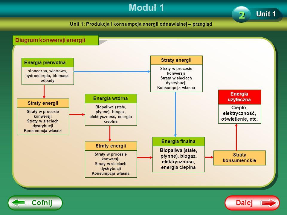 Dalej Cofnij Moduł 1 Unit 1 2 Diagram konwersji energii Energia pierwotna słoneczna, wiatrowa, hydroenergia, biomasa, odpady Straty energii Straty w p