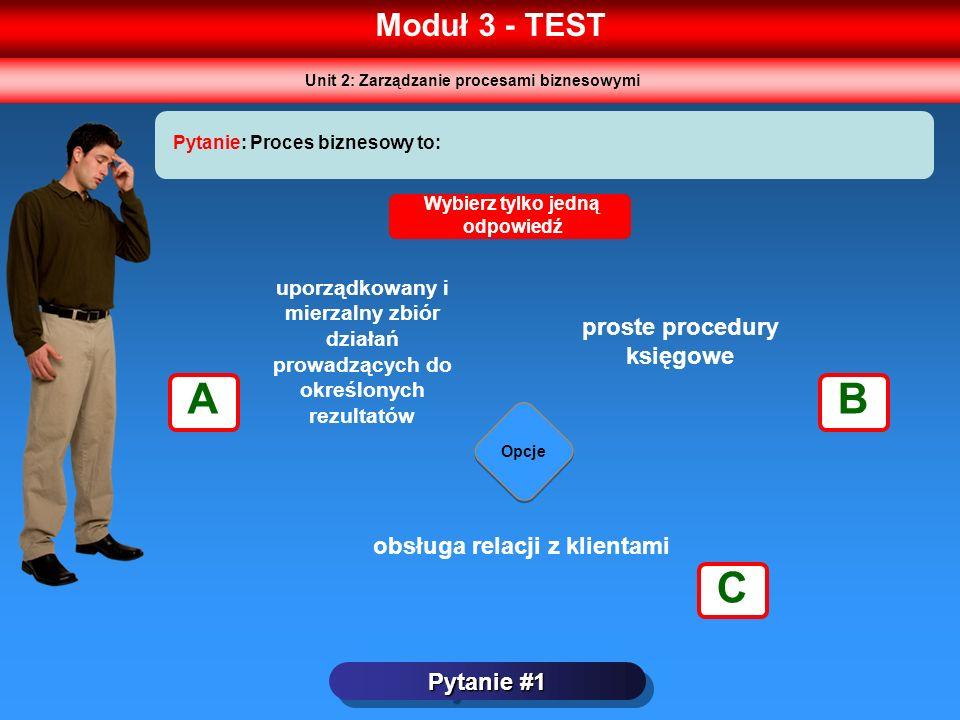 Moduł 3 - TEST Pytanie #1 Pytanie: Proces biznesowy to: Opcje Wybierz tylko jedną odpowiedź uporządkowany i mierzalny zbiór działań prowadzących do ok