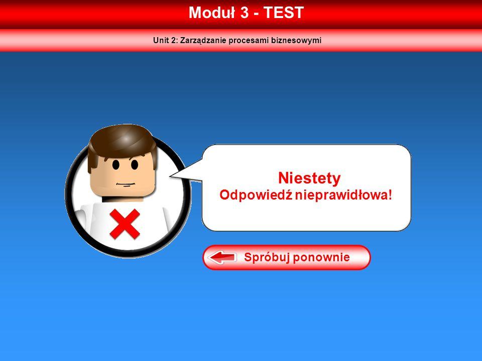 Moduł 3 - TEST Spróbuj ponownie Niestety Odpowiedź nieprawidłowa! Unit 2: Zarządzanie procesami biznesowymi