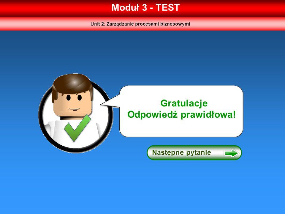 Moduł 3 - TEST Następne pytanie Gratulacje Odpowiedź prawidłowa! Unit 2: Zarządzanie procesami biznesowymi