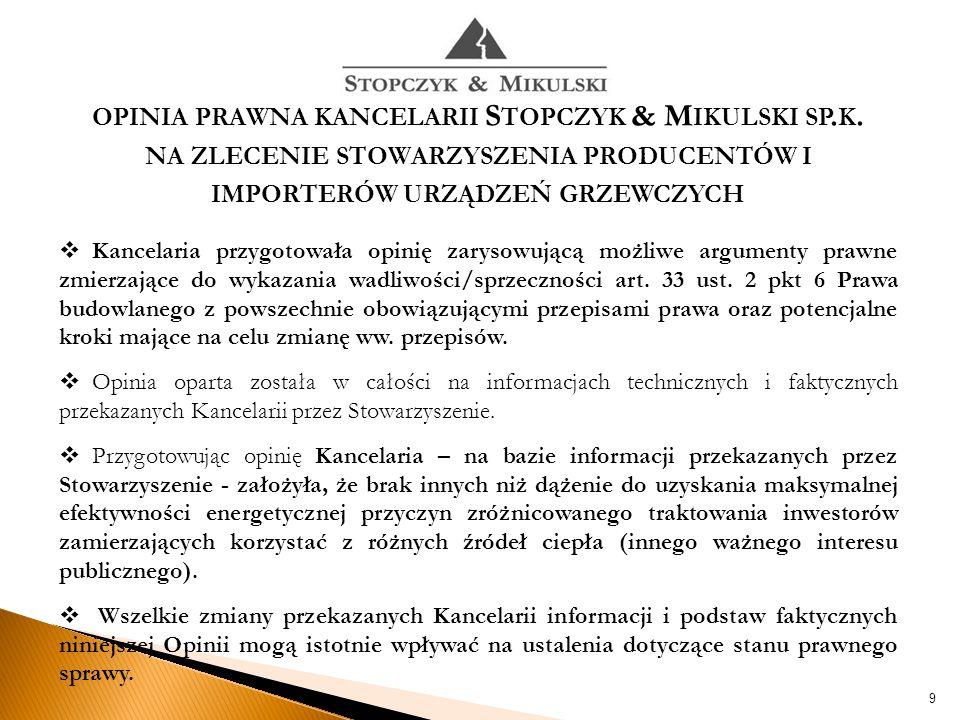OPINIA PRAWNA KANCELARII S TOPCZYK & M IKULSKI SP.