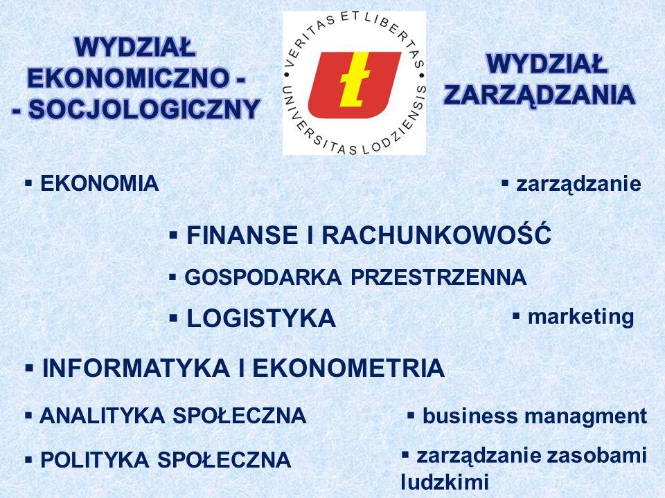 FINANSE I RACHUNKOWOŚĆ GOSPODARKA PRZESTRZENNA LOGISTYKA INFORMATYKA I EKONOMETRIA ANALITYKA SPOŁECZNA POLITYKA SPOŁECZNA EKONOMIA zarządzanie marketing business managment zarządzanie zasobami ludzkimi