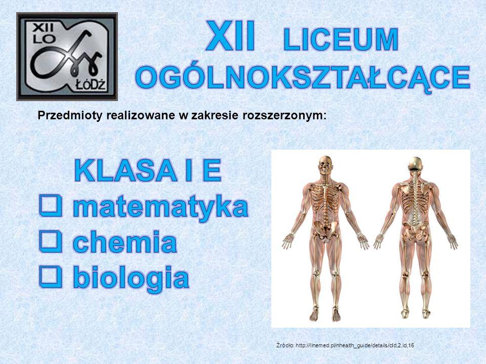 Przedmioty realizowane w zakresie rozszerzonym: Źródło: http://linemed.pl/nhealth_guide/details/cId,2,id,15