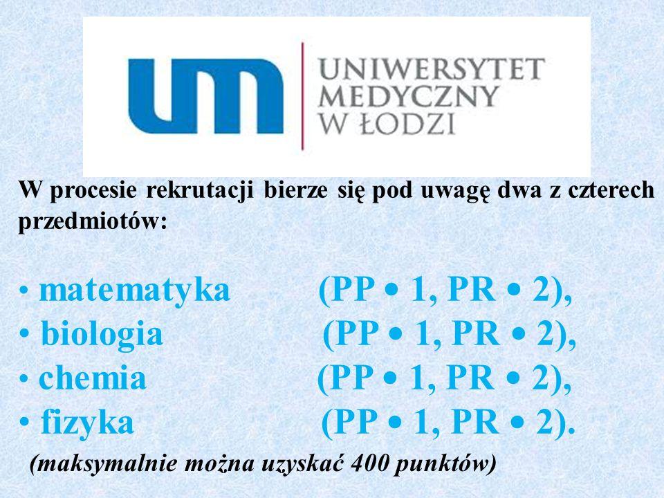 W procesie rekrutacji bierze się pod uwagę dwa z czterech przedmiotów: matematyka (PP 1, PR 2), biologia (PP 1, PR 2), chemia (PP 1, PR 2), fizyka (PP 1, PR 2).