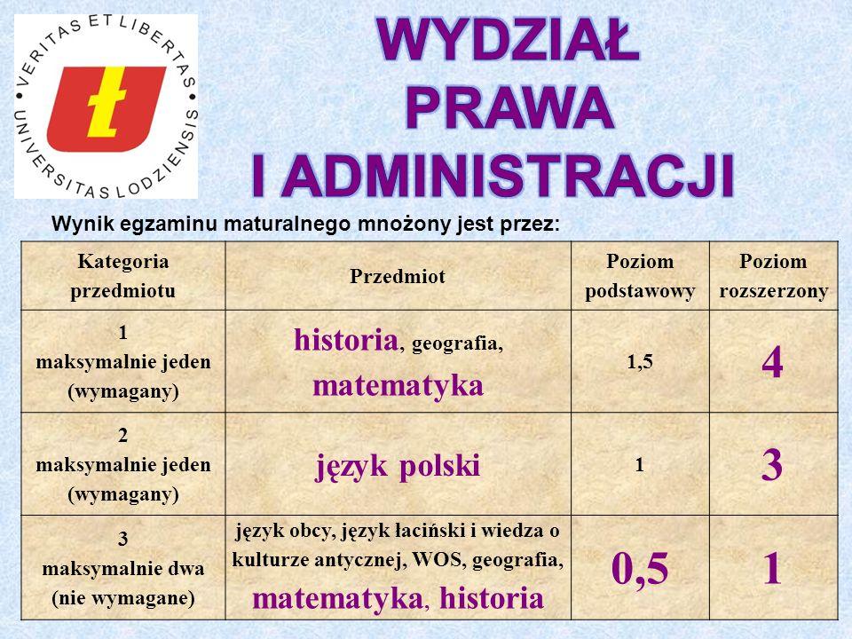 Wynik egzaminu maturalnego mnożony jest przez: Kategoria przedmiotu Przedmiot Poziom podstawowy Poziom rozszerzony 1 maksymalnie jeden (wymagany) historia, geografia, matematyka 1,5 4 2 maksymalnie jeden (wymagany) język polski 1 3 3 maksymalnie dwa (nie wymagane) język obcy, język łaciński i wiedza o kulturze antycznej, WOS, geografia, matematyka, historia 0,51