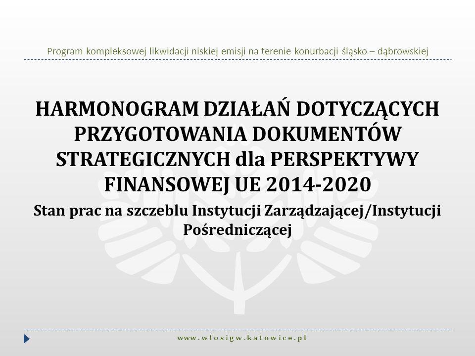 Program kompleksowej likwidacji niskiej emisji na terenie konurbacji śląsko – dąbrowskiej HARMONOGRAM DZIAŁAŃ DOTYCZĄCYCH PRZYGOTOWANIA DOKUMENTÓW STR
