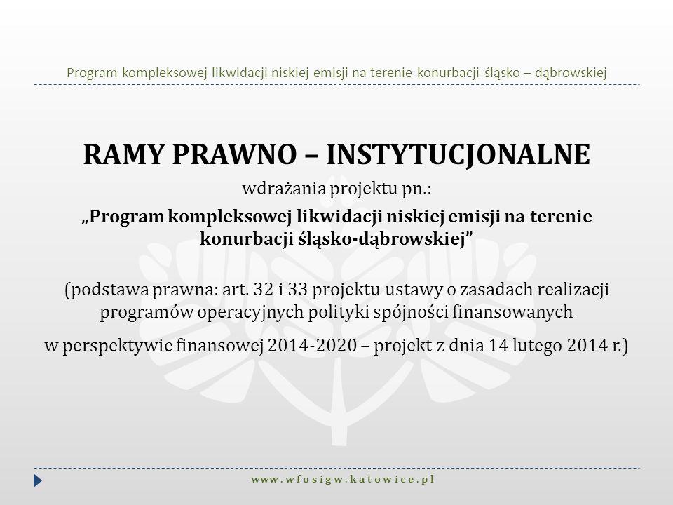 Program kompleksowej likwidacji niskiej emisji na terenie konurbacji śląsko – dąbrowskiej RAMY PRAWNO – INSTYTUCJONALNE wdrażania projektu pn.: Progra