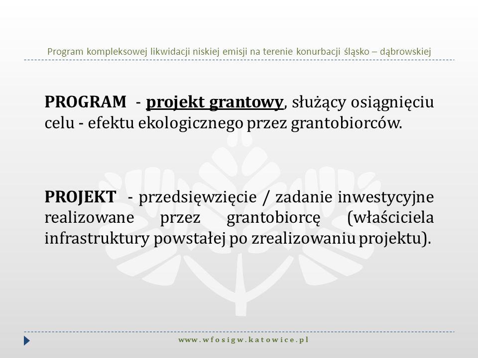 Program kompleksowej likwidacji niskiej emisji na terenie konurbacji śląsko – dąbrowskiej PROGRAM - projekt grantowy, służący osiągnięciu celu - efekt