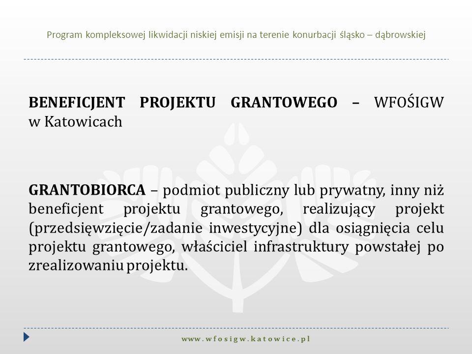 BENEFICJENT PROJEKTU GRANTOWEGO – WFOŚIGW w Katowicach GRANTOBIORCA – podmiot publiczny lub prywatny, inny niż beneficjent projektu grantowego, realiz