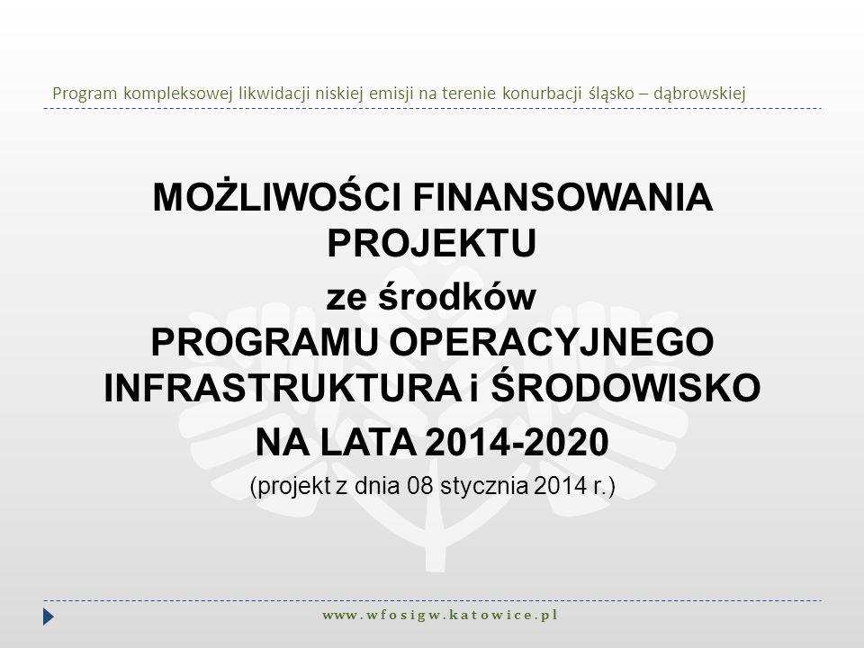 Program kompleksowej likwidacji niskiej emisji na terenie konurbacji śląsko – dąbrowskiej MOŻLIWOŚCI FINANSOWANIA PROJEKTU ze środków PROGRAMU OPERACY