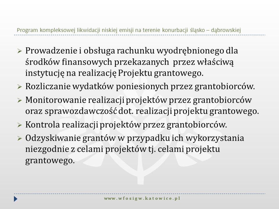 Program kompleksowej likwidacji niskiej emisji na terenie konurbacji śląsko – dąbrowskiej Prowadzenie i obsługa rachunku wyodrębnionego dla środków fi