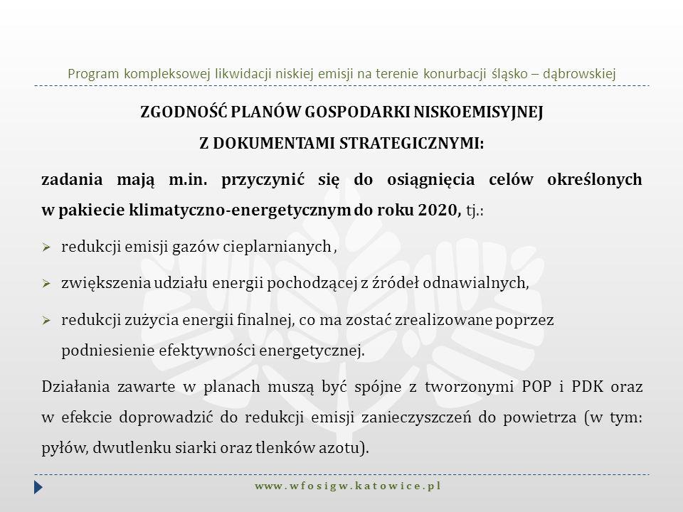 Program kompleksowej likwidacji niskiej emisji na terenie konurbacji śląsko – dąbrowskiej ZGODNOŚĆ PLANÓW GOSPODARKI NISKOEMISYJNEJ Z DOKUMENTAMI STRA