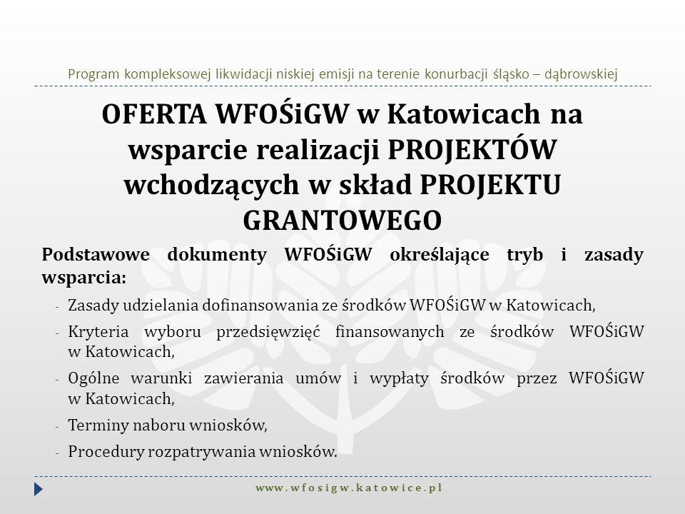 Program kompleksowej likwidacji niskiej emisji na terenie konurbacji śląsko – dąbrowskiej OFERTA WFOŚiGW w Katowicach na wsparcie realizacji PROJEKTÓW