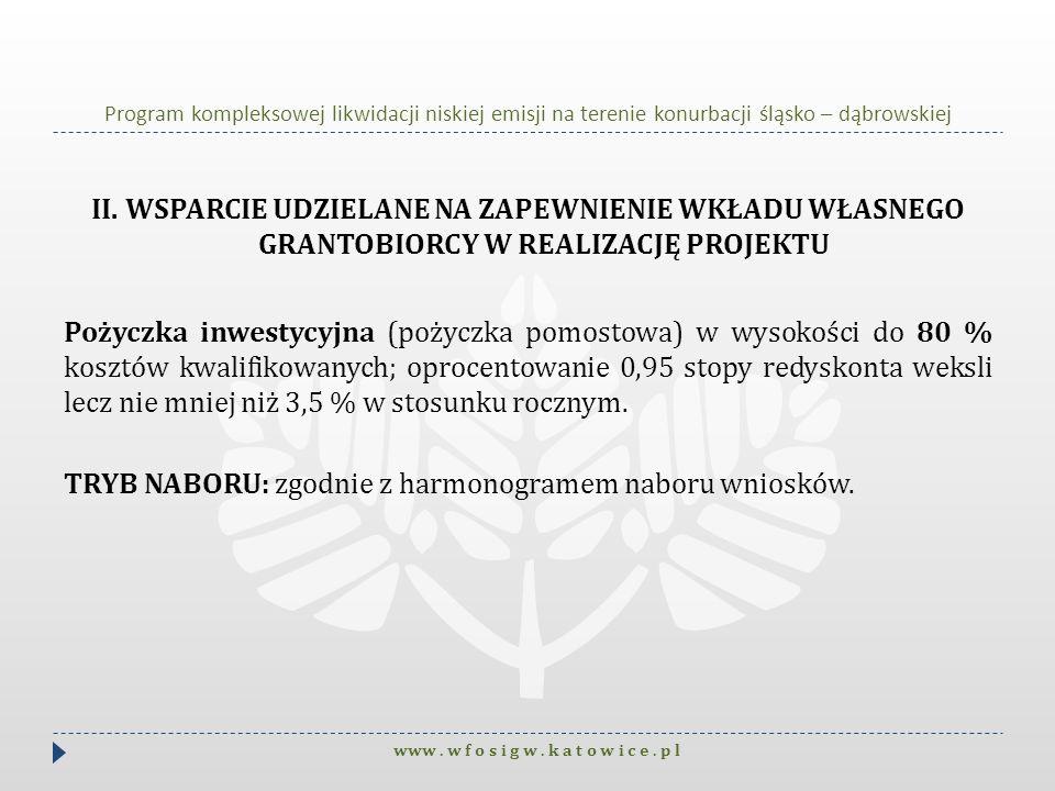 Program kompleksowej likwidacji niskiej emisji na terenie konurbacji śląsko – dąbrowskiej II. WSPARCIE UDZIELANE NA ZAPEWNIENIE WKŁADU WŁASNEGO GRANTO