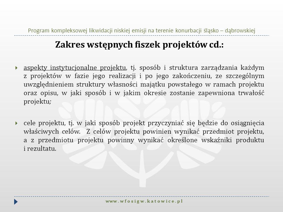Program kompleksowej likwidacji niskiej emisji na terenie konurbacji śląsko – dąbrowskiej Zakres wstępnych fiszek projektów cd.: aspekty instytucjonal
