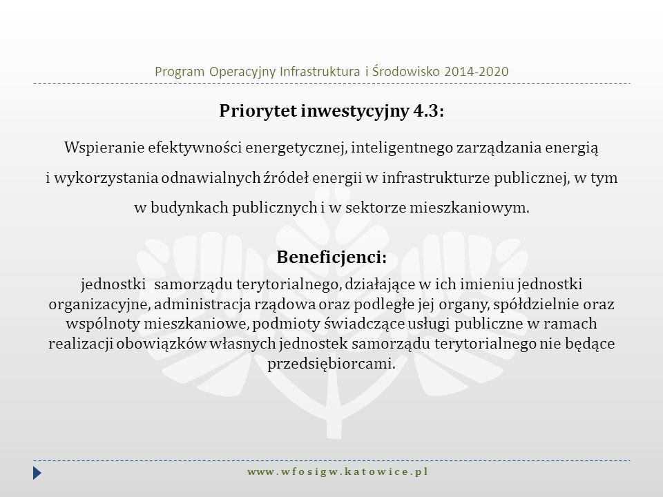 Program Operacyjny Infrastruktura i Środowisko 2014-2020 Priorytet inwestycyjny 4.3: Wspieranie efektywności energetycznej, inteligentnego zarządzania