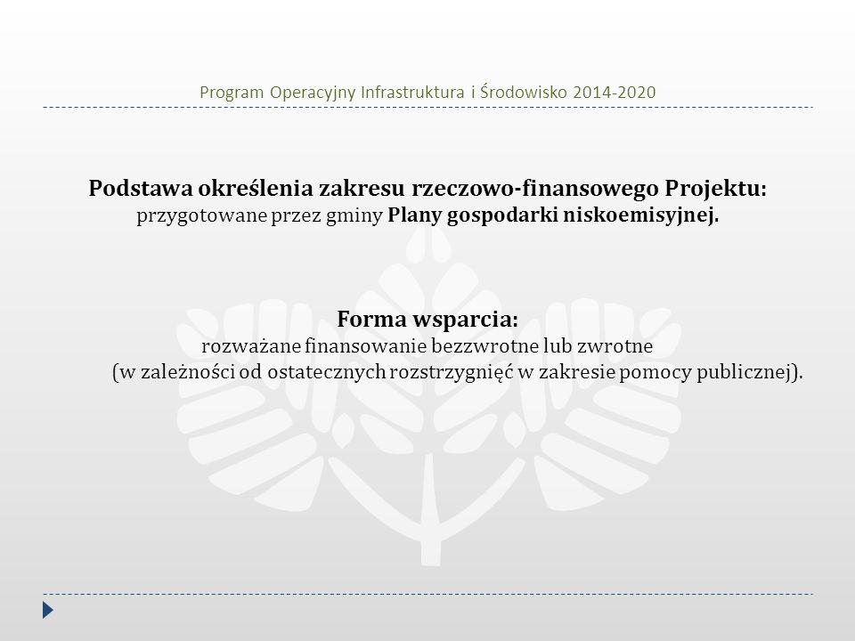 Podstawa określenia zakresu rzeczowo-finansowego Projektu: przygotowane przez gminy Plany gospodarki niskoemisyjnej. Forma wsparcia: rozważane finanso