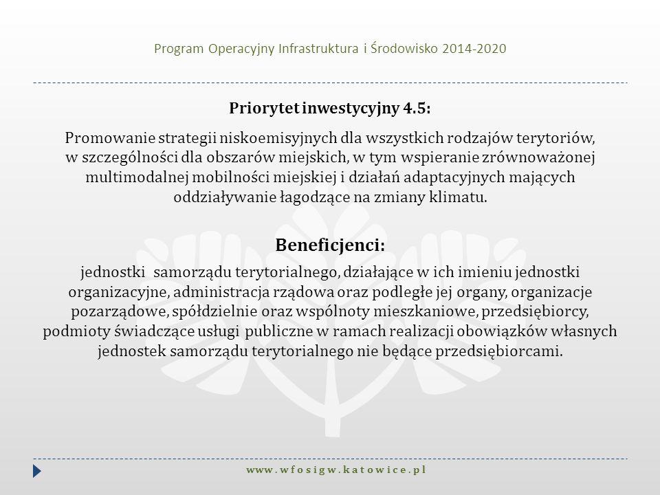 Program Operacyjny Infrastruktura i Środowisko 2014-2020 Priorytet inwestycyjny 4.5: Promowanie strategii niskoemisyjnych dla wszystkich rodzajów tery