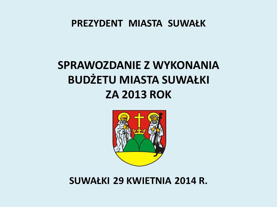 SPRAWOZDANIE Z WYKONANIA BUDŻETU MIASTA SUWAŁKI ZA 2013 ROK SUWAŁKI 29 KWIETNIA 2014 R. PREZYDENT MIASTA SUWAŁK
