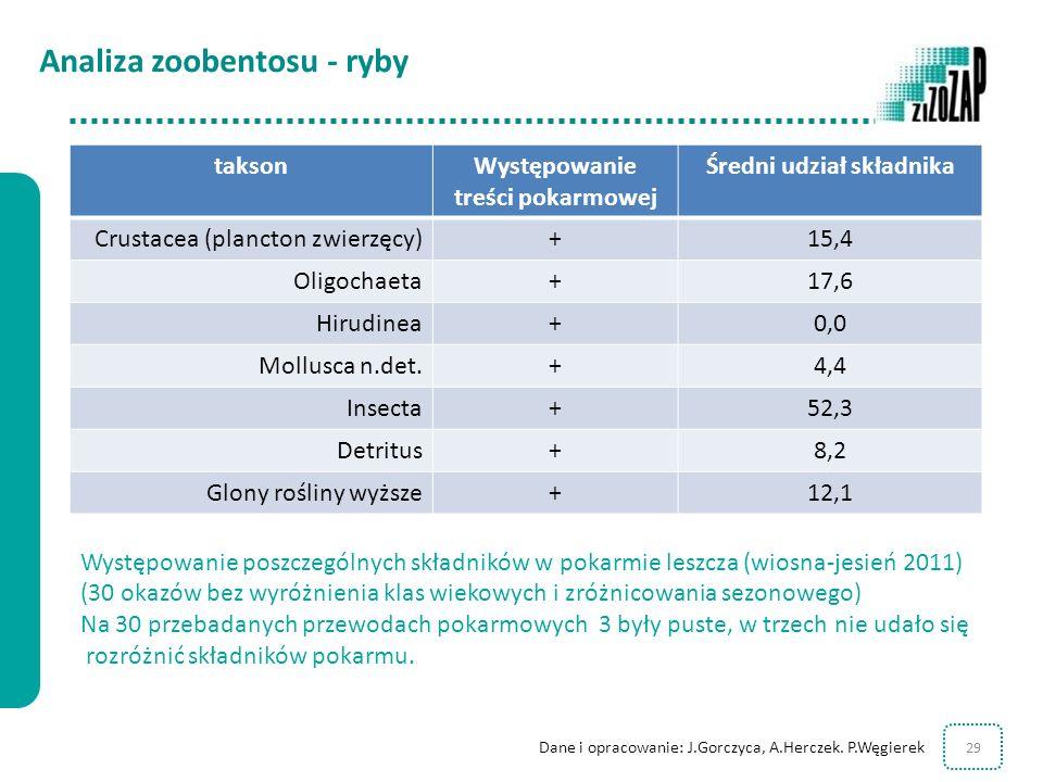 29 Występowanie poszczególnych składników w pokarmie leszcza (wiosna-jesień 2011) (30 okazów bez wyróżnienia klas wiekowych i zróżnicowania sezonowego