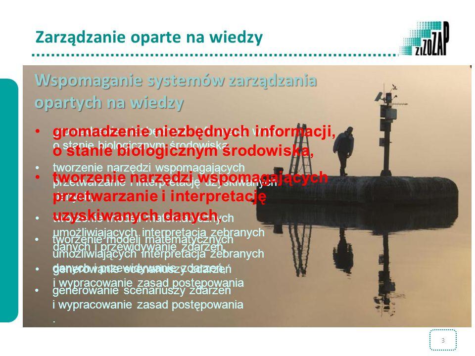 3 Zarządzanie oparte na wiedzy Wspomaganie systemów zarządzania opartych na wiedzy gromadzenie niezbędnych informacji, w tym o stanie biologicznym śro