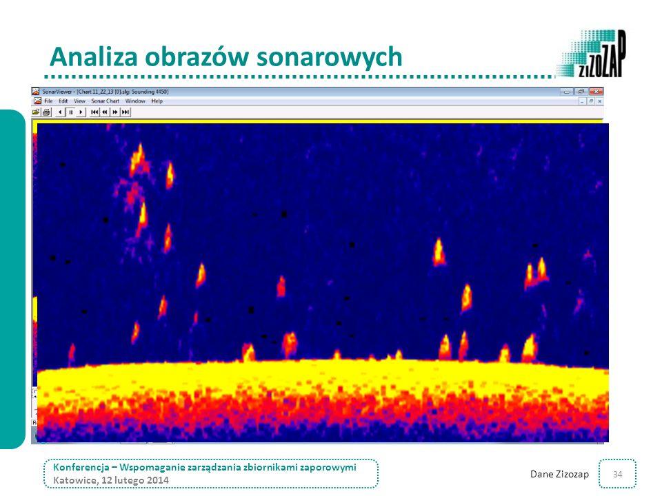 34 Analiza obrazów sonarowych Konferencja – Wspomaganie zarządzania zbiornikami zaporowymi Katowice, 12 lutego 2014 Dane Zizozap