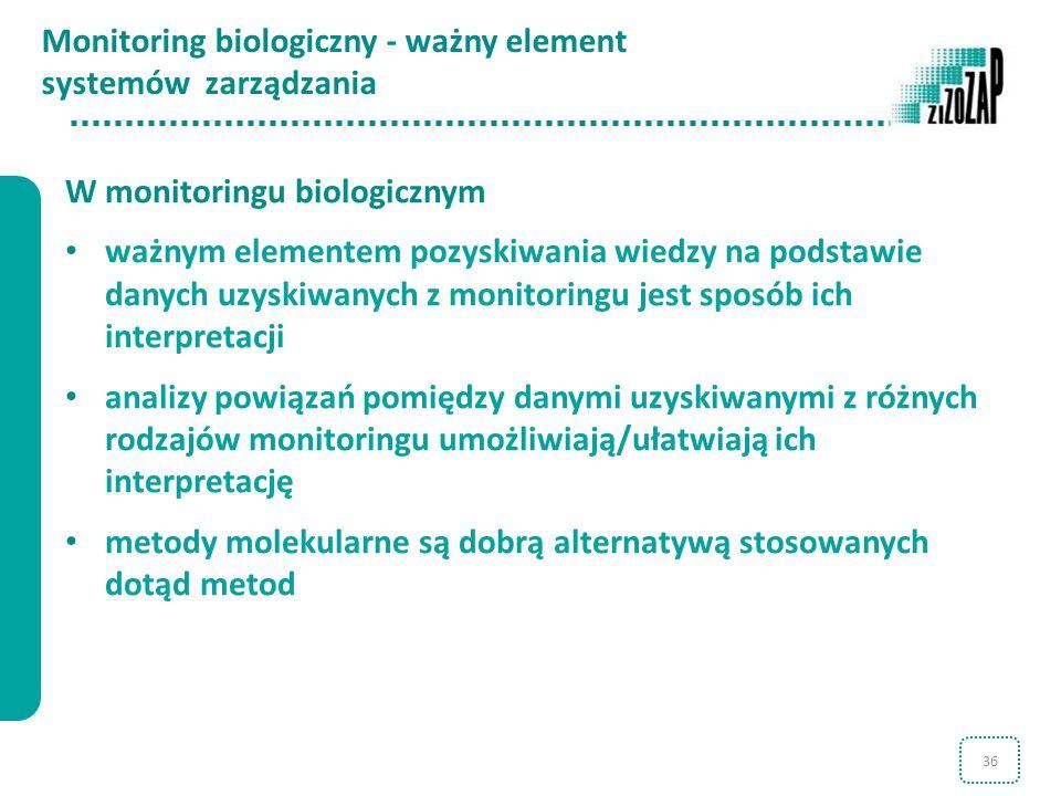 36 Monitoring biologiczny - ważny element systemów zarządzania W monitoringu biologicznym ważnym elementem pozyskiwania wiedzy na podstawie danych uzy