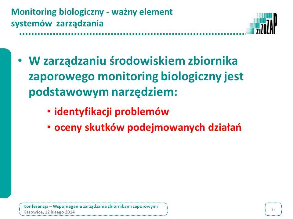 37 Monitoring biologiczny - ważny element systemów zarządzania W zarządzaniu środowiskiem zbiornika zaporowego monitoring biologiczny jest podstawowym