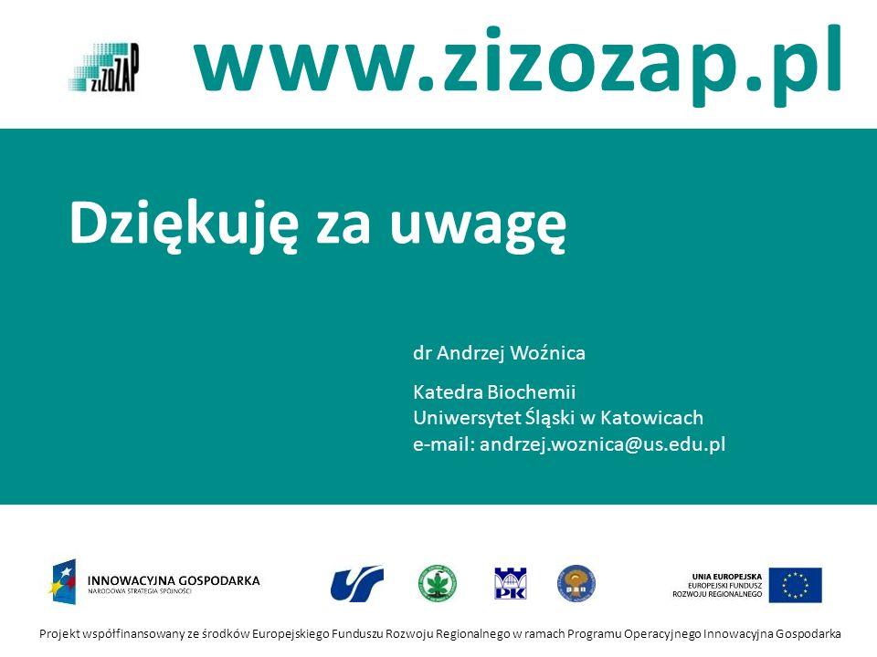 Projekt współfinansowany ze środków Europejskiego Funduszu Rozwoju Regionalnego w ramach Programu Operacyjnego Innowacyjna Gospodarka www.zizozap.pl D