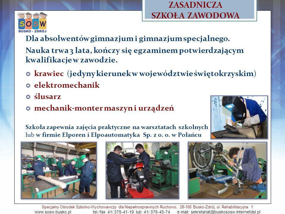 ZASADNICZA SZKOŁA ZAWODOWA Dla absolwentów gimnazjum i gimnazjum specjalnego.
