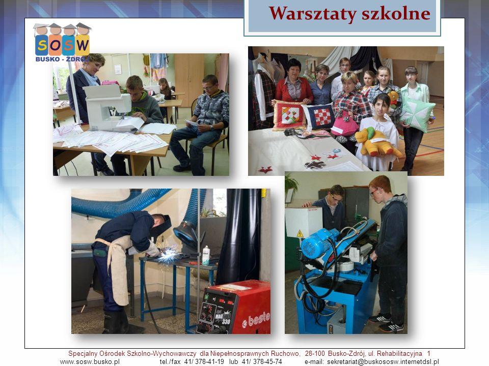Warsztaty szkolne Specjalny Ośrodek Szkolno-Wychowawczy dla Niepełnosprawnych Ruchowo, 28-100 Busko-Zdrój, ul. Rehabilitacyjna 1 www.sosw.busko.pl tel