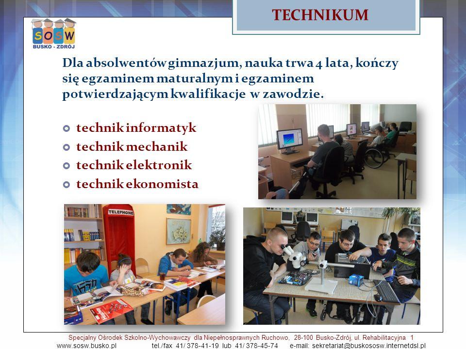 Dla absolwentów gimnazjum, nauka trwa 4 lata, kończy się egzaminem maturalnym i egzaminem potwierdzającym kwalifikacje w zawodzie. technik informatyk