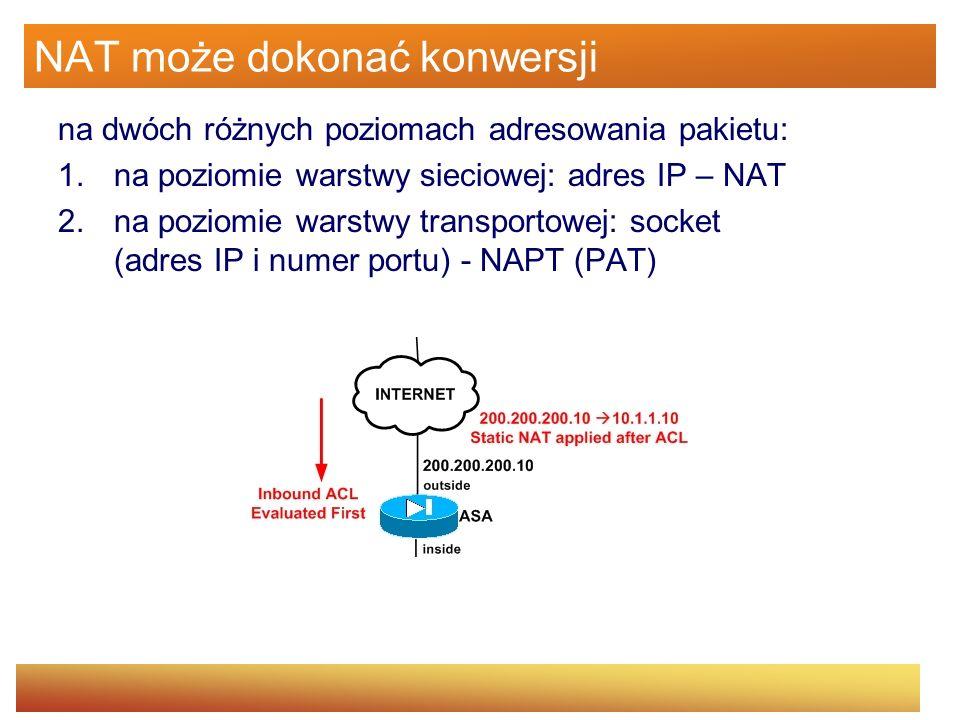 NAT może dokonać konwersji na dwóch różnych poziomach adresowania pakietu: 1.na poziomie warstwy sieciowej: adres IP – NAT 2.na poziomie warstwy trans