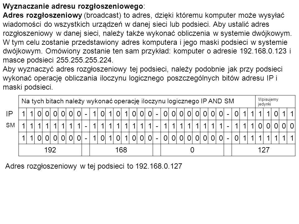 Wyznaczanie adresu rozgłoszeniowego: Adres rozgłoszeniowy (broadcast) to adres, dzięki któremu komputer może wysyłać wiadomości do wszystkich urządzeń