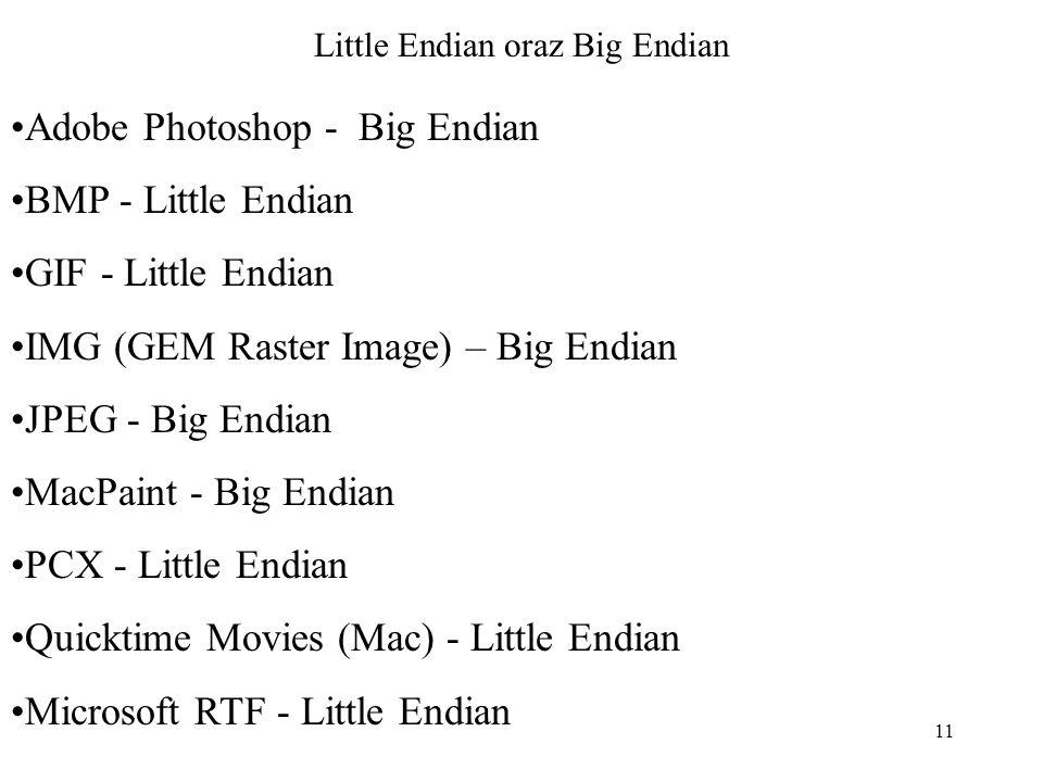 11 Little Endian oraz Big Endian Adobe Photoshop - Big Endian BMP - Little Endian GIF - Little Endian IMG (GEM Raster Image) – Big Endian JPEG - Big E