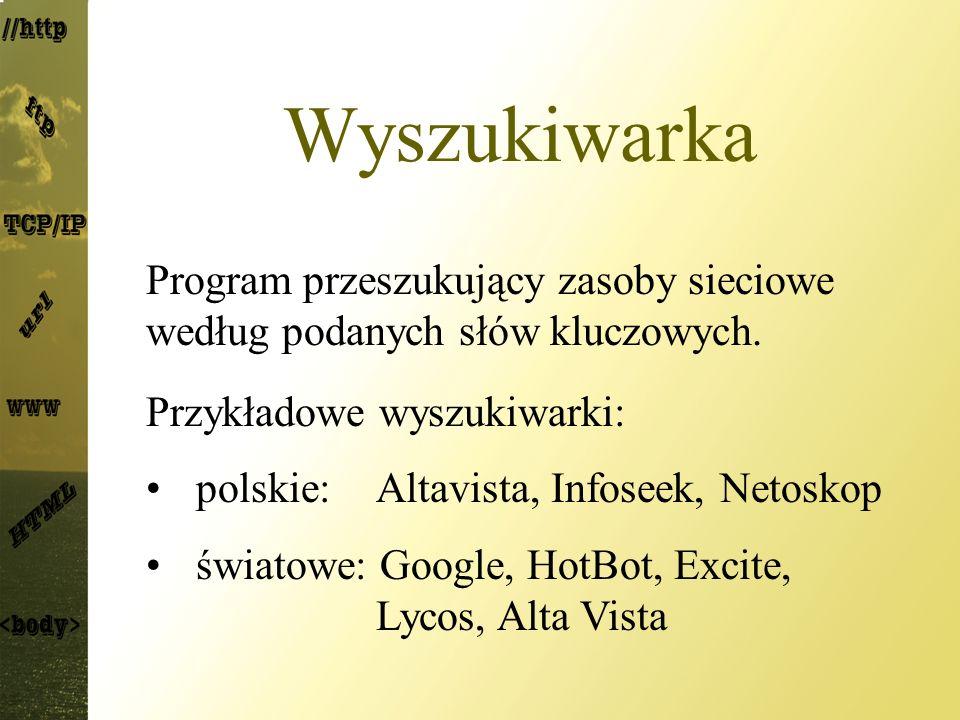 Wyszukiwarka Program przeszukujący zasoby sieciowe według podanych słów kluczowych. Przykładowe wyszukiwarki: polskie: Altavista, Infoseek, Netoskop ś