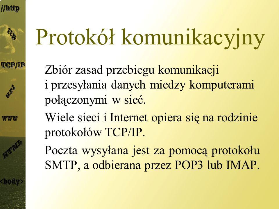 Protokół komunikacyjny Zbiór zasad przebiegu komunikacji i przesyłania danych miedzy komputerami połączonymi w sieć. Wiele sieci i Internet opiera się